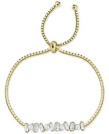 Cubic Zirconia Baguette Cluster Bolo Bracelet in Gold-Plated Sterling Silver