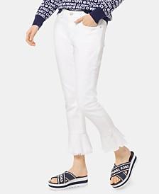 MICHAEL Michael Kors Flounce-Trimmed Cropped Skinny Jeans, Regular & Petite