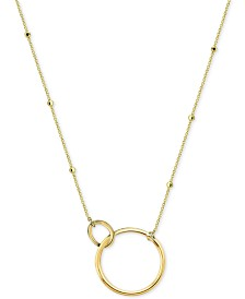 "Argento Vivo Interlocking Ring Pendant Necklace, 16"" + 2"" extender"