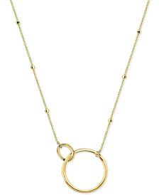 "Argento Vivo Interlocking Ring Pendant Necklace, 16"" + 2"" extender"