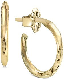Argento Vivo Polished Hoop Earrings in Sterling Silver or Gold-Plated Sterling Silver