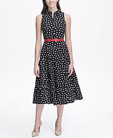 Tommy Hilfiger Floral Cotton Midi Shirtdress with Belt