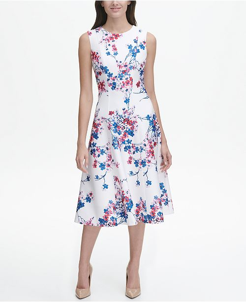 817d1f73e Tommy Hilfiger Eloise Floral Sleeveless Scuba Fit and Flare Midi ...