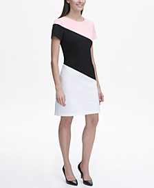 Scuba Crepe Diagonal Colorblock Shift Dress