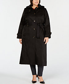London Fog Plus Size Single-Breasted Trench Coat