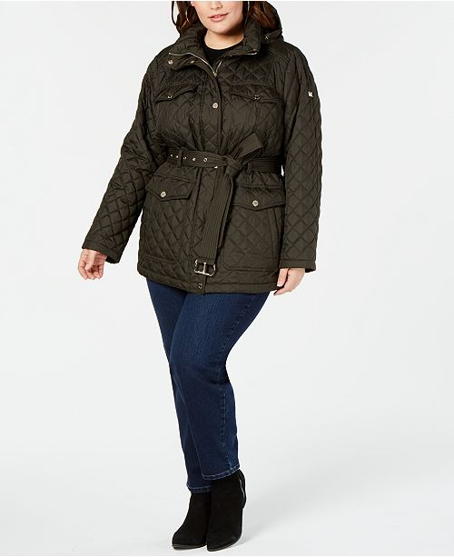 Michael Kors Plus Size Belted Quilted Coat