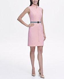 Tommy Hilfiger Scuba Sheath Dress with Belt andZipper Pockets