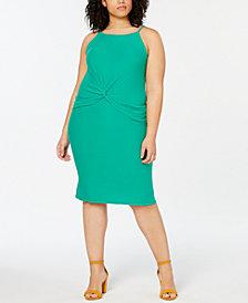 Planet Gold  Trendy Plus Size Twist-Front Halter Dress