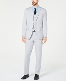 Alfani RED Men's Slim-Fit Performance Stretch Wrinkle-Resistant Light Gray Vested Suit Separates, Created for Macy's