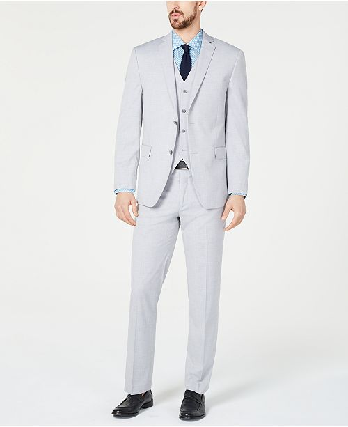 Alfani Men's Slim-Fit Performance Stretch Wrinkle-Resistant Light Gray Vested Suit Separates, Created for Macy's