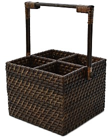 222 Fifth Capri Isle Rattan Square Flatware Caddy