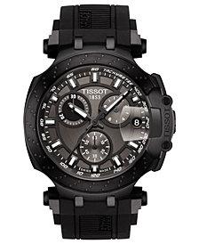 Tissot Men's Swiss Chronograph T-Sport T-Race Black Silicone Strap Watch 47.6mm