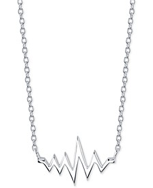 """Heartbeat Pendant Necklace in Sterling Silver, 16"""" + 2"""" extender"""