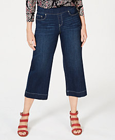 Style & Co Wide-Leg Cropped Pull-On Jeans, Created for Macy's