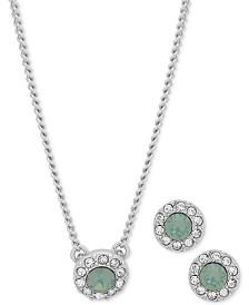 "Givenchy Pavé Pendant Necklace & Stud Earrings Set, 16"" + 3"" extender"