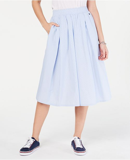 Tommy Hilfiger Pleated Pull-On Midi Skirt, Created for Macy's