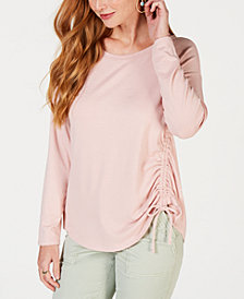 Style & Co Ruched Tie-Detail Top, Created for Macy's