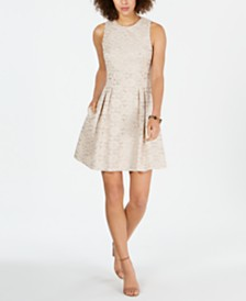 Vince Camuto Pleated-Skirt Lace Fit & Flare Dress