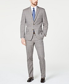 Men's Classic-Fit Airsoft Stretch Brown/Cream Windowpane Suit Separates