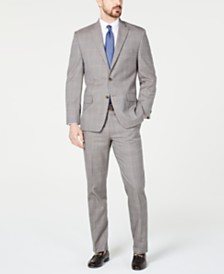 Michael Kors Men's Classic-Fit Airsoft Stretch Brown/Cream Windowpane Suit Separates
