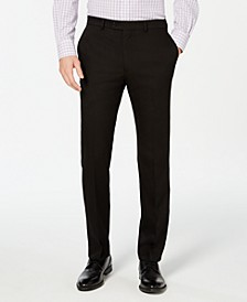 Men's Slim-Fit Stretch Wrinkle-Resistant Black Solid Suit Pants