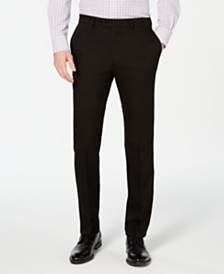 Vince Camuto Men's Slim-Fit Stretch Wrinkle-Resistant Black Solid Suit Pants