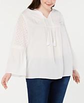 7e01a0c30062ce Style   Co Plus Size Crochet-Trim Split-Neck Top