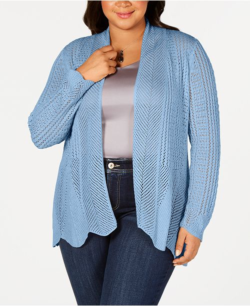 Belldini Belle by Plus Size Scalloped-Hem Open-Front Cardigan