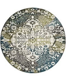 "Watercolor Ivory and Peacock Blue 6'7"" x 6'7"" Round Area Rug"
