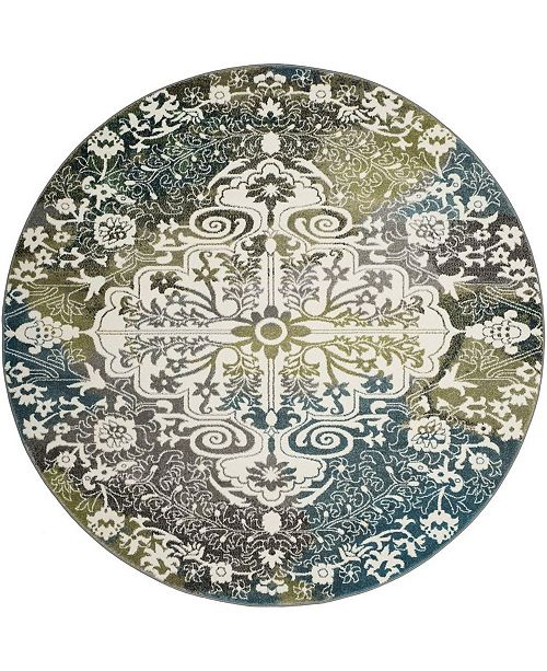 "Safavieh Watercolor Ivory and Peacock Blue 6'7"" x 6'7"" Round Area Rug"