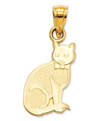 14k Gold Charm I Heart My Cat Charm Jewelry Watches Macys