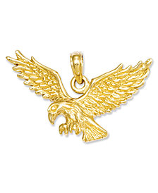 14k Gold Charm, Solid Polished Eagle Charm