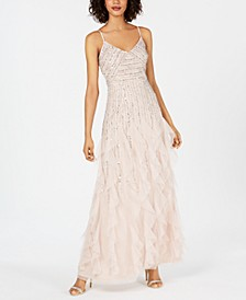 Beaded Ruffled Gown
