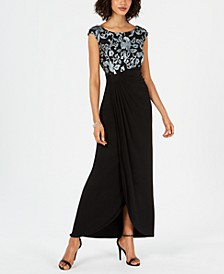 Petite Embroidered Faux-Wrap Gown