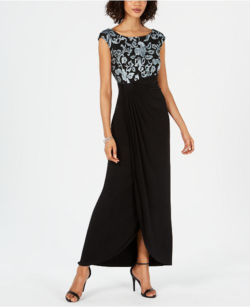 Connected Embroidered-Top Side-Ruched Gown