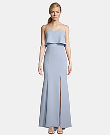Strapless Popover Evening Gown