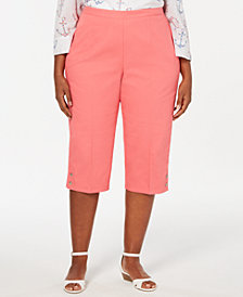 Alfred Dunner Plus Size Smooth Sailing Button-Trimmed Capri Pants