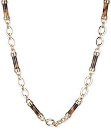 """Lauren Ralph Lauren Gold-Tone Tortoise Frontal Necklace, 16"""" + 3"""" extender"""