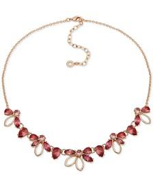 "Anne Klein Gold-Tone Floral Crystal Frontal Necklace, 16"" + 3"" extender"