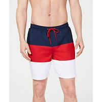 Deals on Club Room Mens Colorblocked 7-inch Swim Trunks