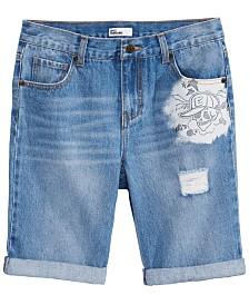 Epic Threads Big Boys Graffiti Denim Shorts, Created for Macy's