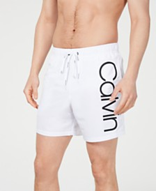 "Calvin Klein Men's Logo Graphic 5.5"" Volley Swim Trunks, Created for Macy's"