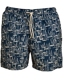 "Barbour Men's Sailboat-Print 5"" Swim Trunks"