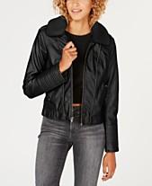 b7fb736ea8678 Celebrity Pink Juniors' Faux-Fur-Collar Moto Jacket