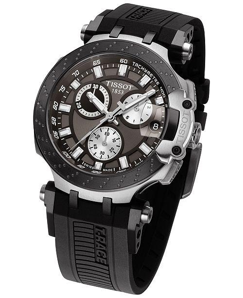 06d21abb582 ... Tissot Men's Swiss Chronograph T-Sport T-Race Black Silicone Strap Watch  47.6 ...