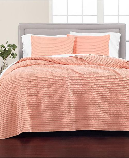 Martha Stewart Collection Washed Rice Stitch King Quilt, Created for Macy's