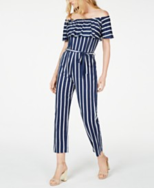 Marella Raggio Striped Off-The-Shoulder Jumpsuit