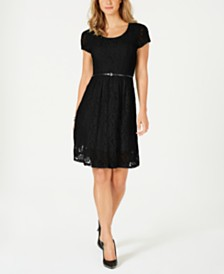 NY Collection Petite Lace Fit & Flare Dress