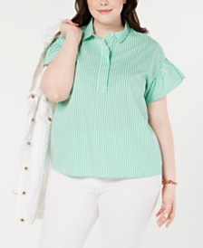 Tommy Hilfiger Plus Size Striped Ruffle Sleeve Top