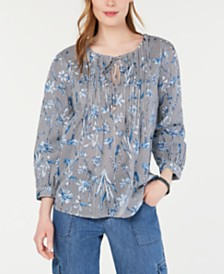 Tommy Hilfiger Printed Tie-Neck Cotton Top, Created for Macy's